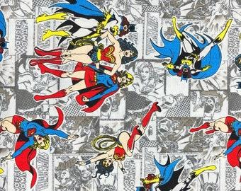 Fabric by the Yard - DC Wonder Woman, Super Girl and Bat Girl on Comic Print