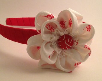White and red flower  Hairband