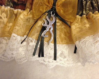 Custom Hunter camp prom or wedding Keepsake and Toss garter set