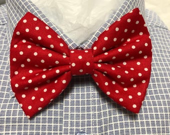 Red with White Polka Dot Bow Tie / Bowtie  Vintage