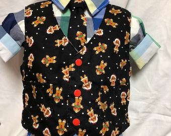 Gingerbread Kid on Black Vest and tie or bow tie set