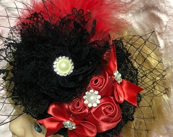 Red and Black Punk Princess stretch Hairband for baby