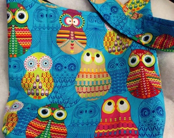 Matryoshka nesting doll Owl Hobo REVERSIBLE CrossBody Bag / purse