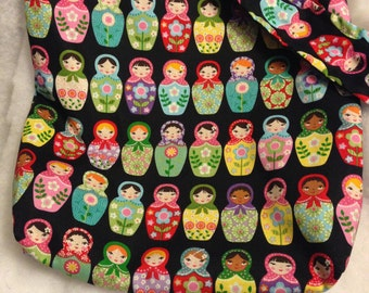 Colorful Matryoshka nesting doll Hobo REVERSIBLE CrossBody Bag / purse