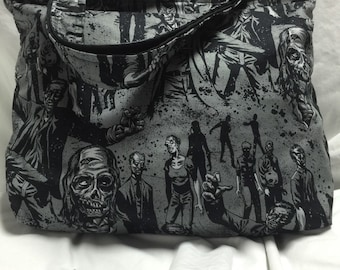 Gray and black Zombie Tote Bag