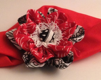 Red and Black Flower Hairband
