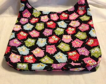 Owl-y  Hobo REVERSIBLE CrossBody Bag / purse