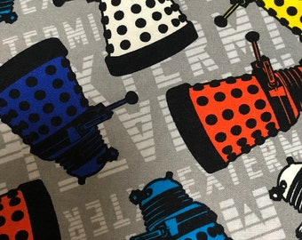 Fabric by the Yard - Doctor Who Colorful Daleks on Gray