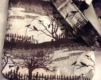 The Raven Edgar Allen Poe graveyard Halloween edition Classic Horror REVERSIBLE CrossBody Bag / purse