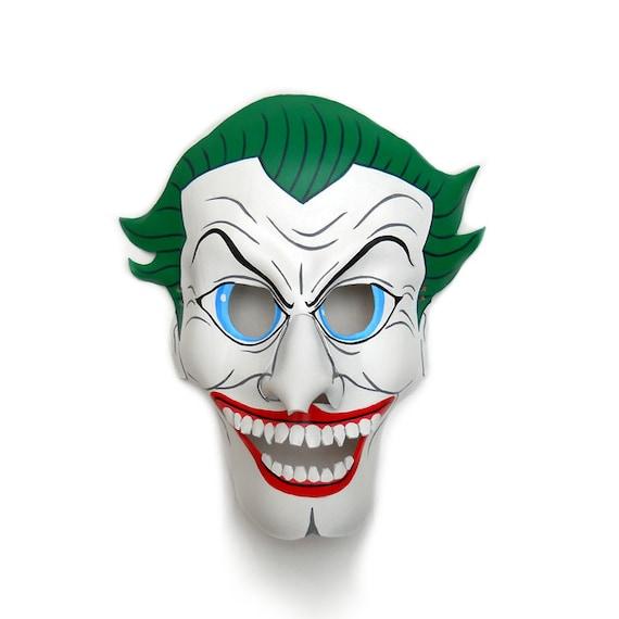 Der Joker Batman Leder Masken Bosewicht Comic Weiss Grun Etsy