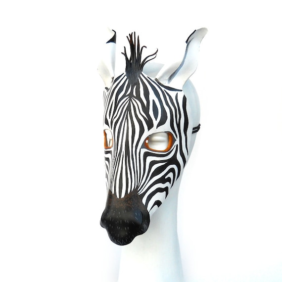 Zebra Mask Halloween Leather Masks African Animal Black White