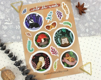 Woodland Stickers | Sticker Sheet | Woodland Art | Woodland Stationery | Woodland Print | Hedgehog Print | Woodland Gifts | Floral Stickers