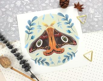 Moth Art Print | Woodland Print | Wildlife Print | Insects Art | Butterfly Art | Wildlife Gift | Woodland Nursery