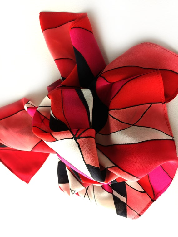 Red silk scarf made by SilkArtidea small hand painted