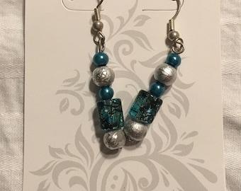 Painted Glass beadded earrings