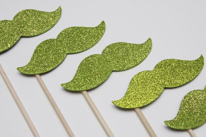 SPARKLE STACHE STICKS Lime Green Glitter set of 8 sparkle image 0