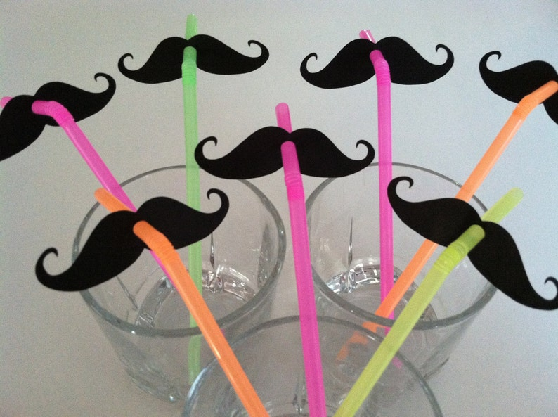 STACHE STRAWS set of 10 in NEON image 0