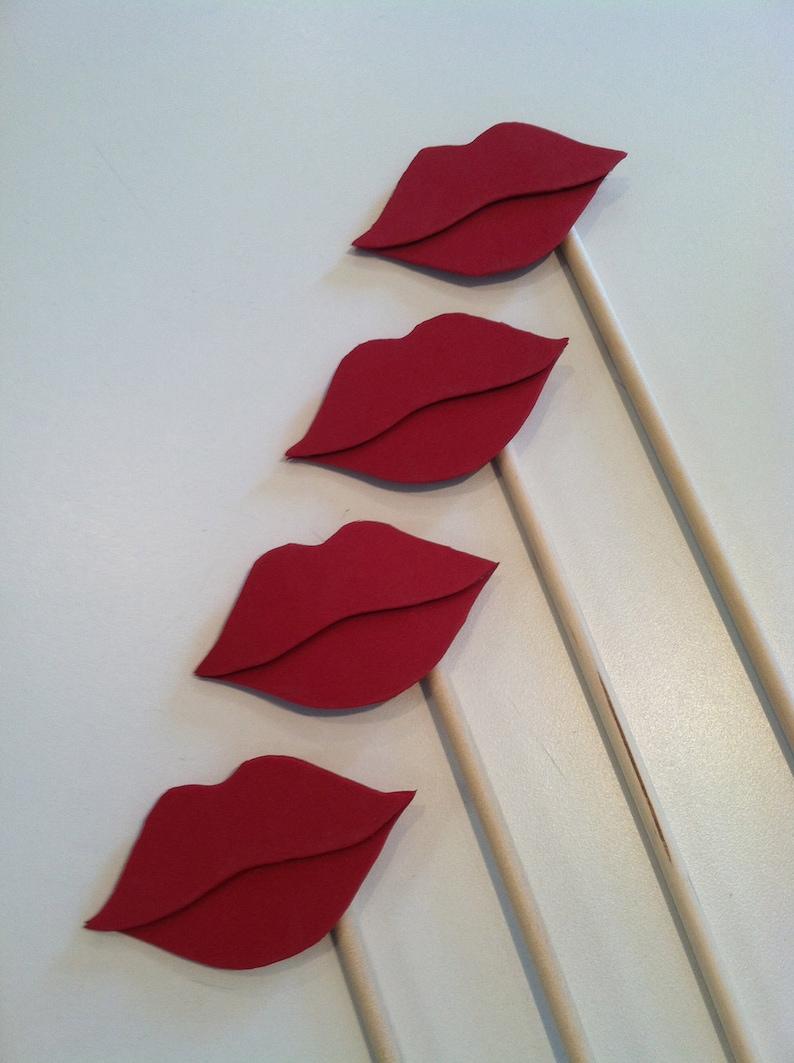LIP STICKS Set of 5 red hand cut lip sticks image 0