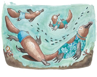 Signed print- The Platypus Family