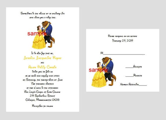 50 Personalized Custom Disney Belle Beauty and the Beast Wedding Bridal Invitations RSVP Cards Set and envelopes