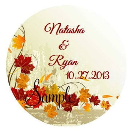 120 Personalized Custom Fall Autumn Leaves Wedding Round Stickers Envelope Seals