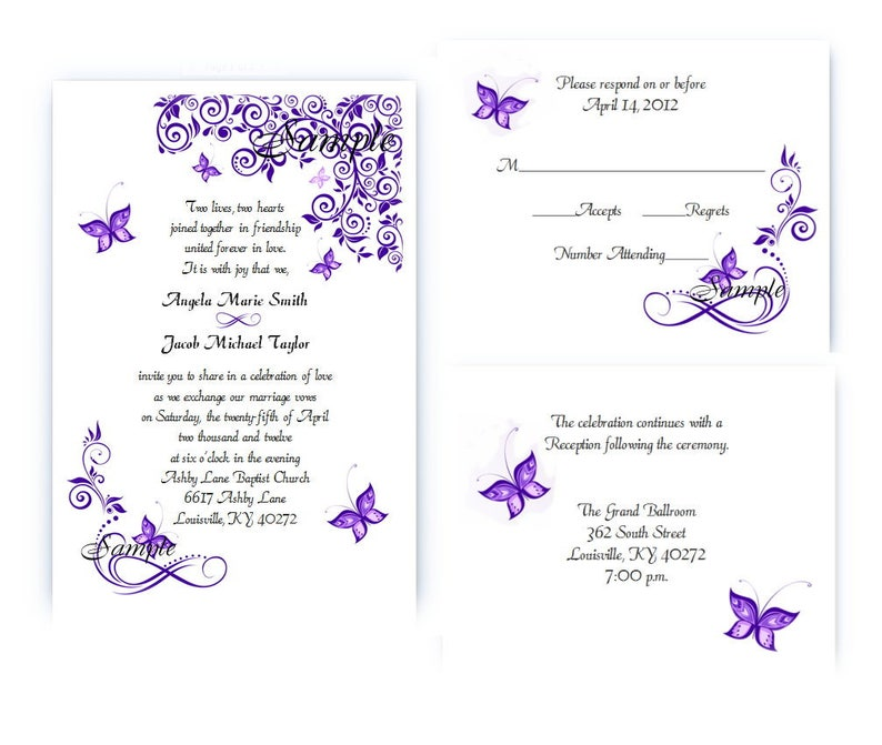 100 Personalized Custom Purple Butterfly Bridal Wedding Ceremony Invitations Cards Set