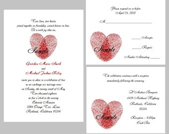 100 Personalized Custom Red Heart Fingerprints Wedding Invitations Set