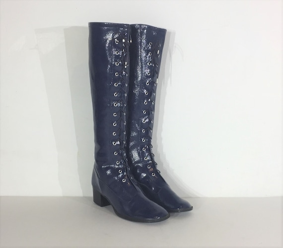 1960s blue vinyl lace up boots  - size 6 - 1960s l