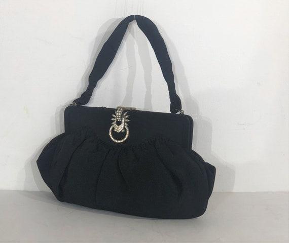 1930s Art Deco black fabric evening bag with elab… - image 2