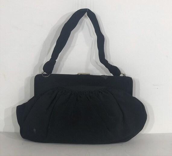 1930s Art Deco black fabric evening bag with elab… - image 4