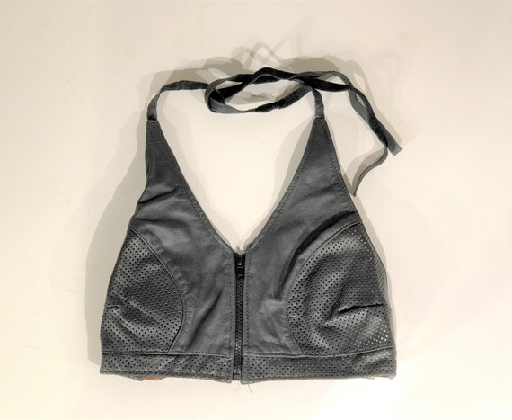 1990s black leather halter top - size small - vint