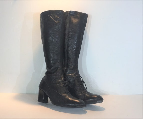 1960s black leather lace up boots - size 10 - 1960