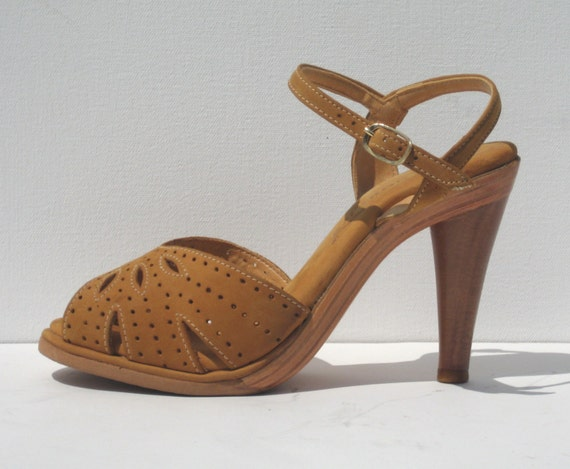1970s mint condition tan suede and wood platform s