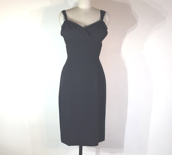 1940s black crepe evening dress with double straps