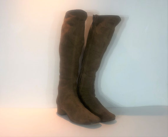 1960s mod suede knee high boots - size 9 - 1960s b