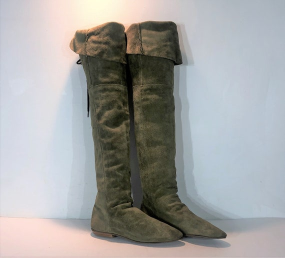 1980s sage green suede over the knee boots  - size