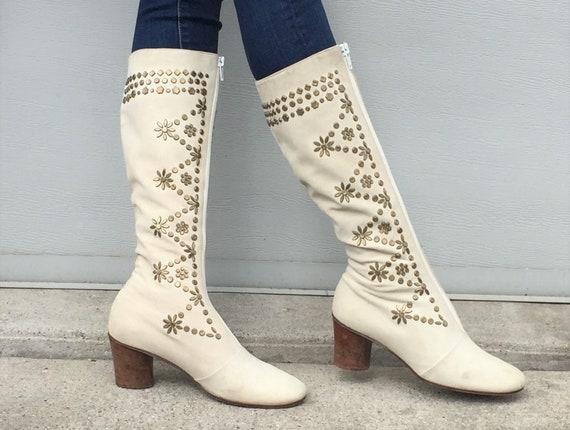 1960s tan suede Edouard Jerrold boots - size 7 -