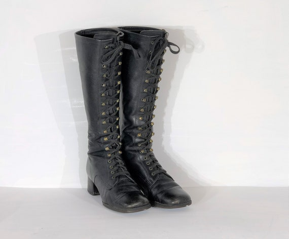 1960s black leather lace up boots - size 7.5 - 196