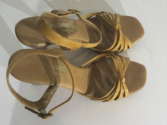 1970s tan vinyl wood platform sandals - size 9 na… - image 5