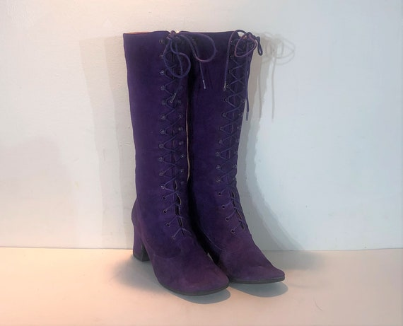 1960s purple suede lace up boots - size 6 - 1960s