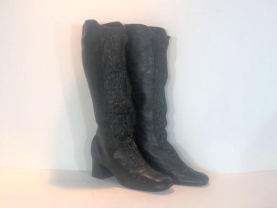 1960s black vinyl boots  - size 6 - 1960s go go bo