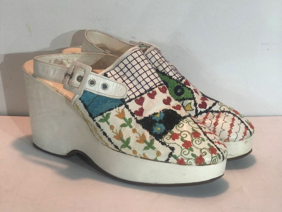 1970s embroidered Edouard Jerrold white platform c
