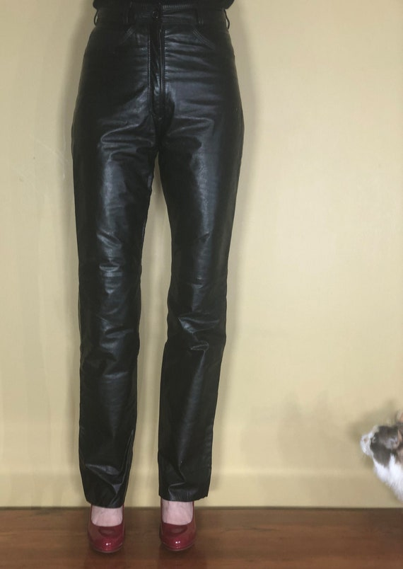 1990s Jordache black leather high-waisted jeans -