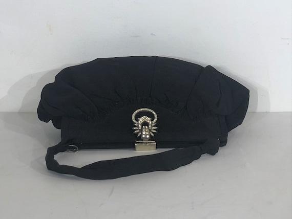 1930s Art Deco black fabric evening bag with elab… - image 5