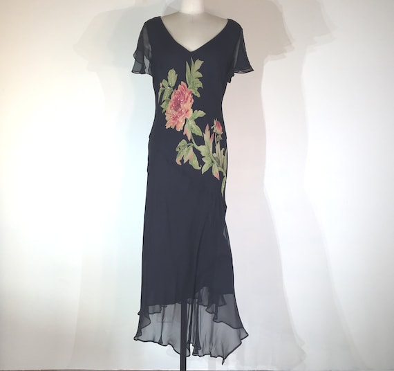 1990s does 1930s silk dress with rose - small to m