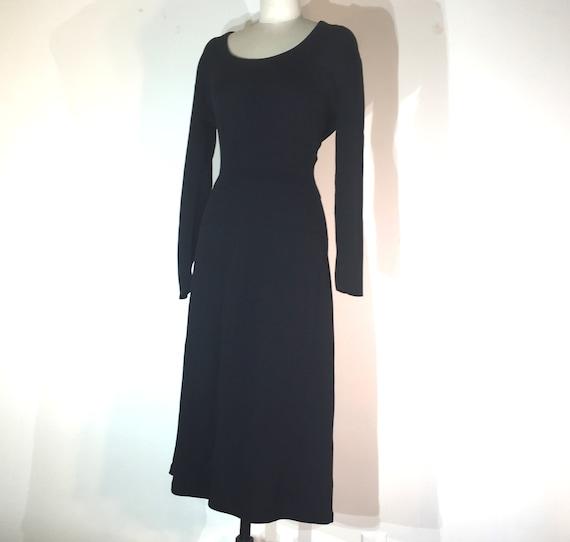 1940s black wool knit dress- medium - 1940s black… - image 3