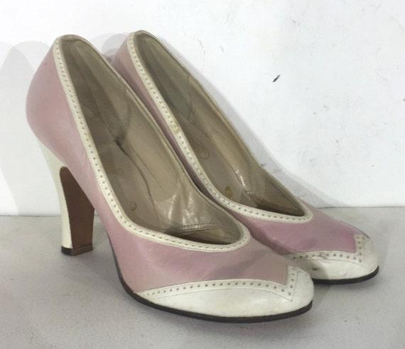 des années 1940 en cuir rose et et et blanc spectateur pompes - chaussure de spectateur taille 6.5-années 1940 - années 1930 spectateur chaussure - spectateur chaussures - rose des années 1940 | Insolite  fdc5b6