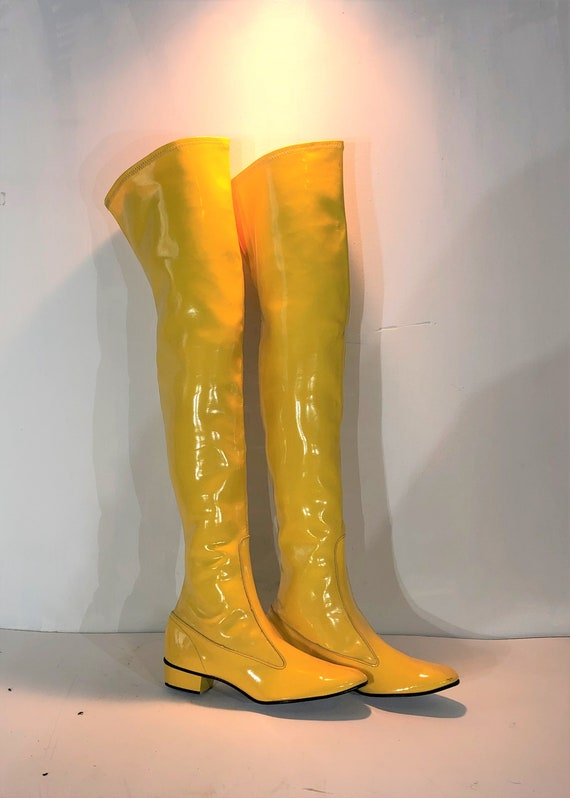 1960s yellow vinyl over the knee boots  - size 6 -