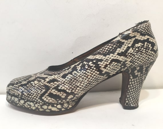 1940s platfrom python shoes - size 10 - 1940s plat