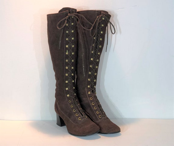 1960s brown suede lace up boots - size 7.5 - 1960s